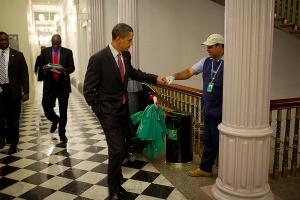 Obama fist pumps a White House cleaner