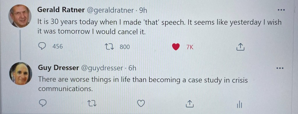 Gerald Ratner Tweets his regret about making 'that' speech 30 years ago to the Institute of Directors in the UK